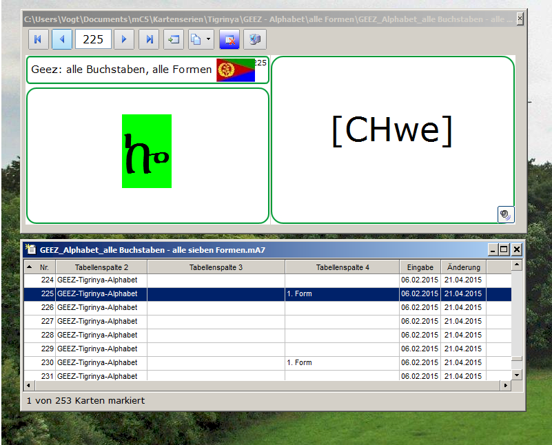 GEEZ-Alphabet - alle Buchstaben - alle Formen