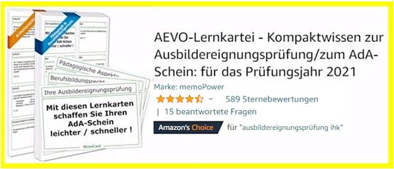 Sreenshot zu AEVO-Lernkartei: Anzahl der Feedbacks auf Amazon