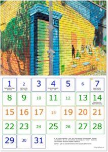 Geburtstagskalender Doppelseite für Juli