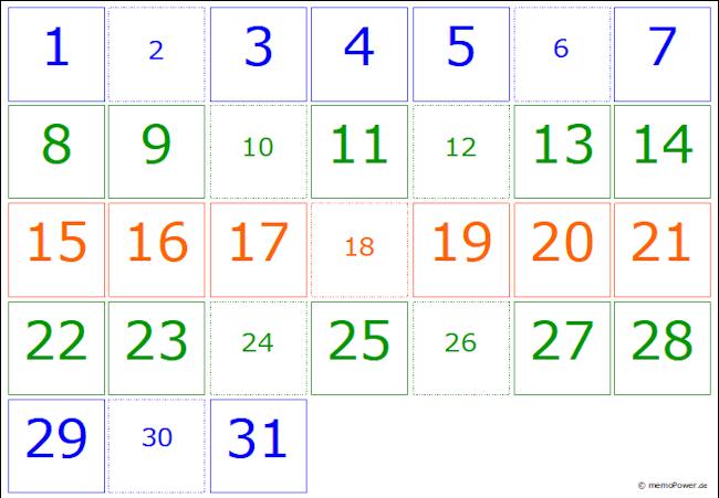Geburtstagskalender von memoPower mit einheitlichem Monatsraster