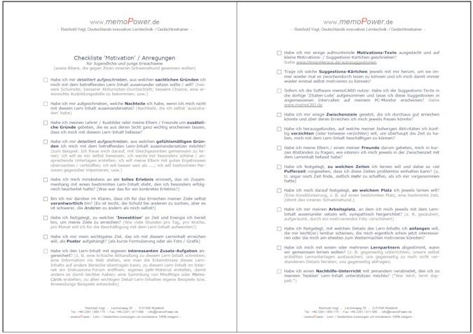 Selbstmotivation-Checkliste, Teil 1