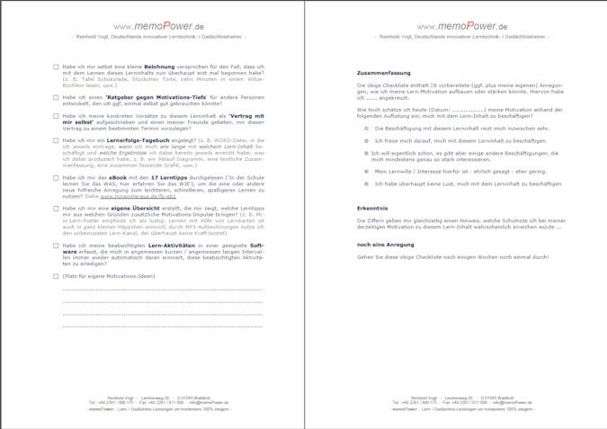 Selbstmotivation-Checkliste, Teil 2