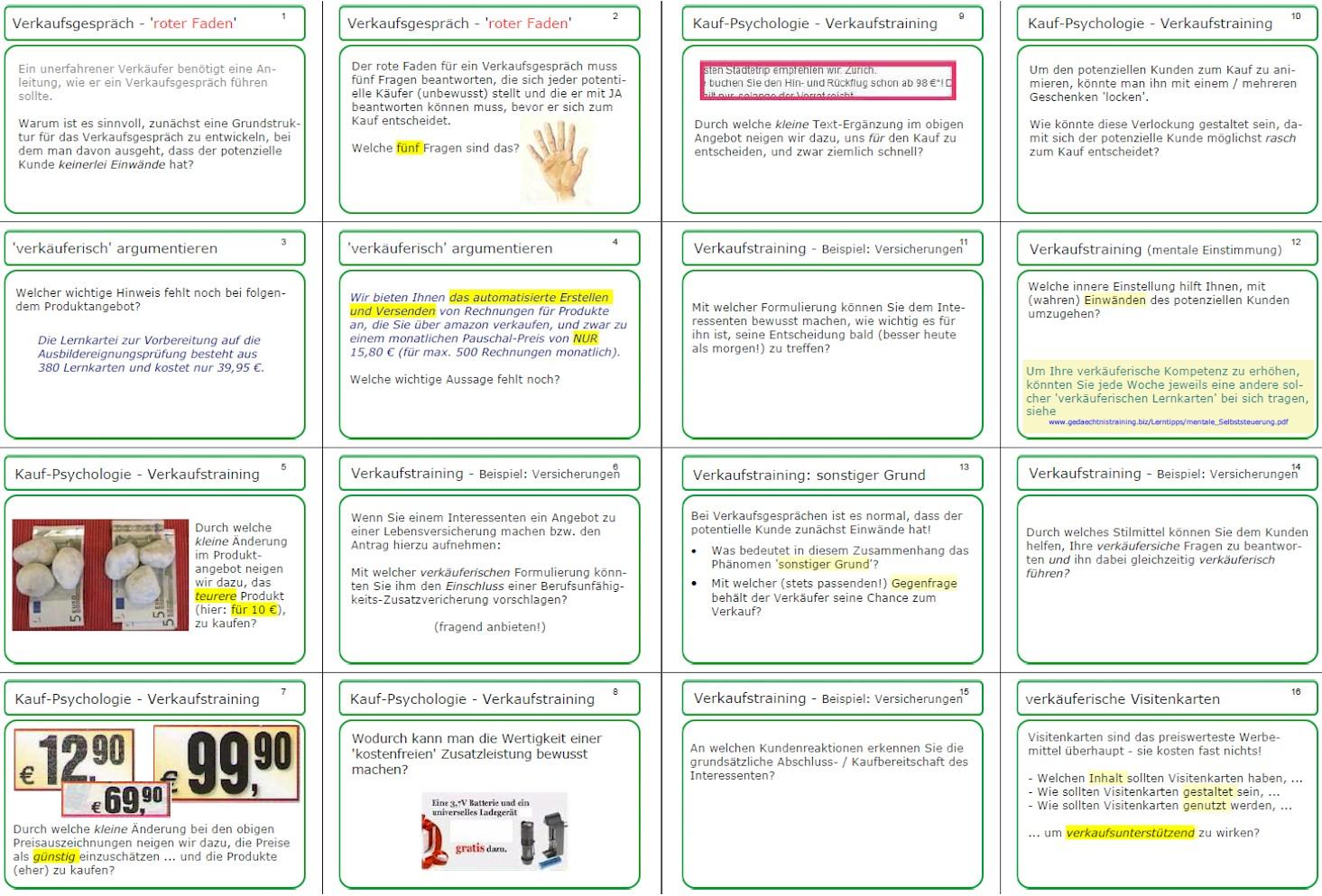 VerkaufsTraining - Fragen 1-16